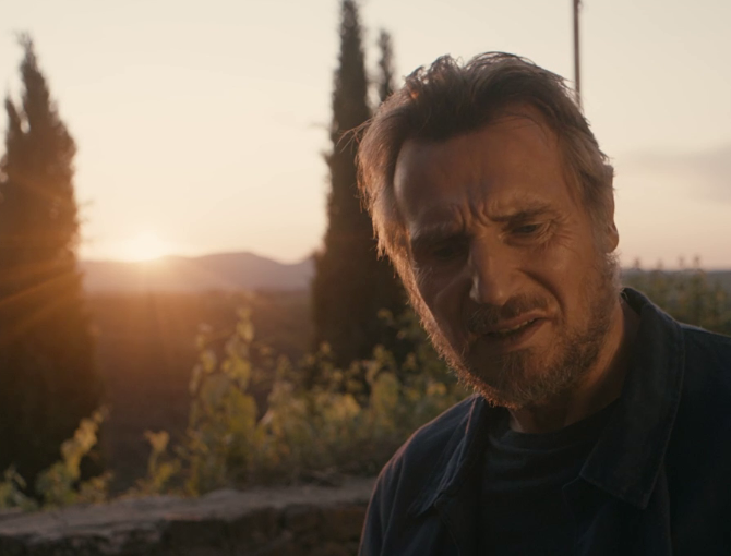 Liam Neeson on the Made in Italy set