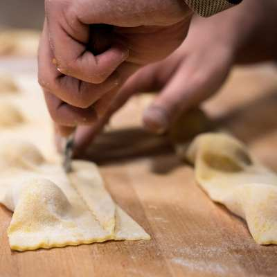 Making potato tortelli in Vicchio at Antica Porta di Levante