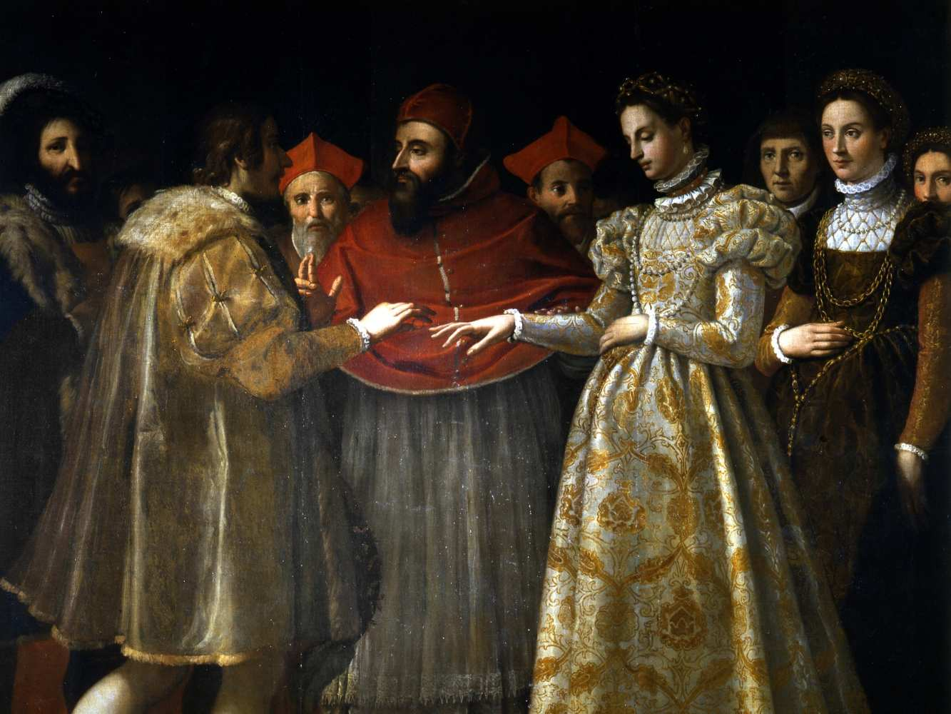 "The Wedding of Catherine de Medici and Henry, Duke of Orléans"" by Jacopo Chimenti da Empoli conserved in the Uffizi Gallery"