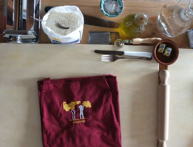 Pasta station at Podere Scurtarola, Massa