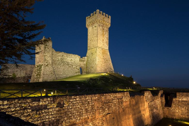 Radicofani fortress at night