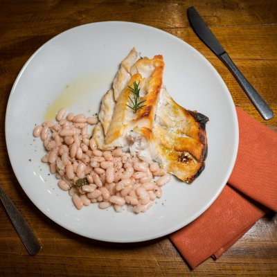 Sorana beans with grilled cod fish