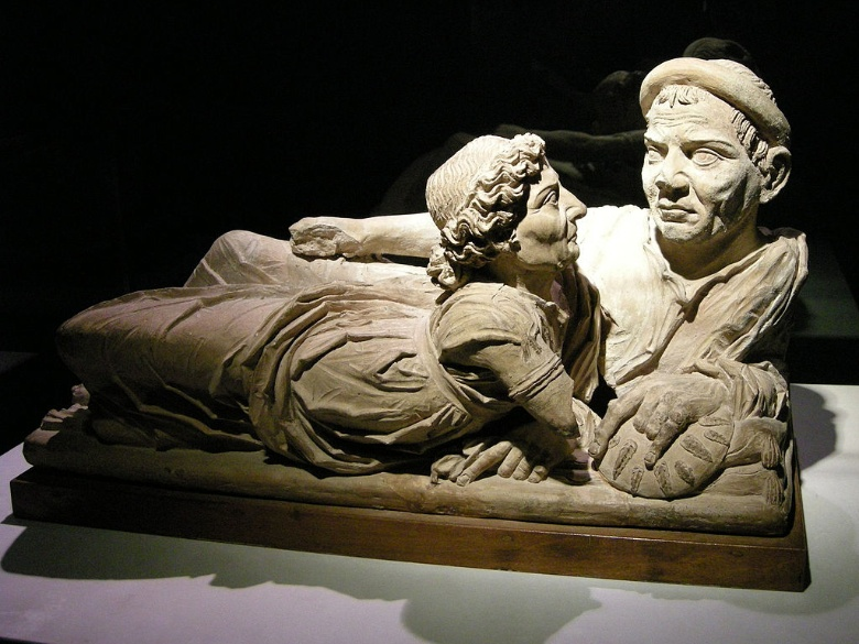 A funerary urn at Guarnacci Museum in Volterra